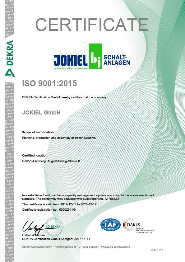 JOKIEL-Zertifikat ISO 9001:2015 (Englisch)