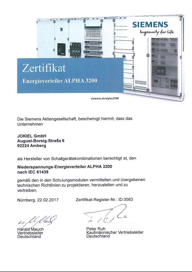 Zertifikat Energieverteiler ALPHA 3200