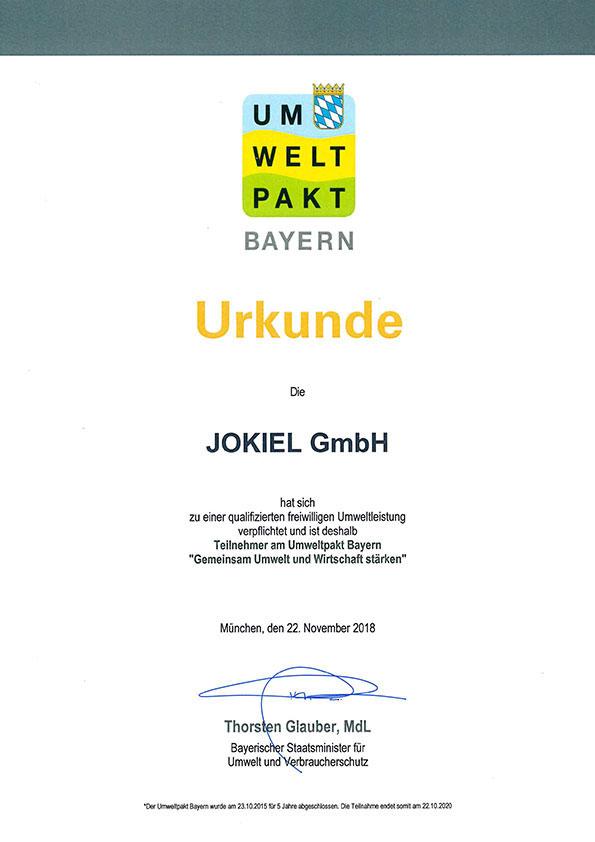 Umweltpakt Bayern Urkunde